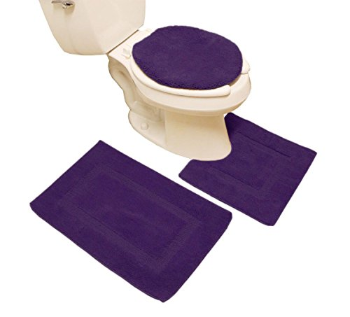 3 Pieces Dark Purple Microfiber Bathroom Rugs Contour Mat