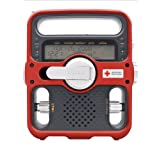 Eton FR600 (Red) Solarlink Red Cross Rugged Solar & Dynamo Crank Powered AM / FM Emergency Radio with Mobile Phone USB charger & 4 LED Flashlampby Red Cross FR600