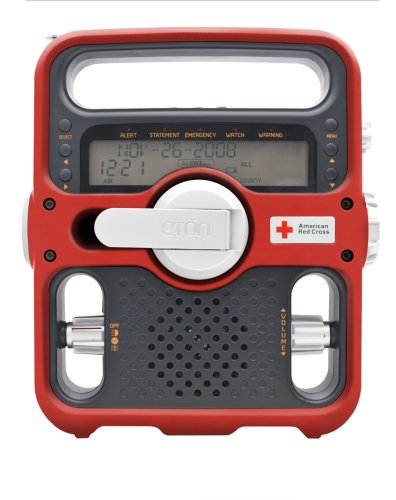 Etón American Red Cross ARCFR600R Solarlink Digital AM/FM/SW/NOAA S.A.M.E. Weather Radio with Flashlight, Siren, Solar and CellPhone Charger (Red)