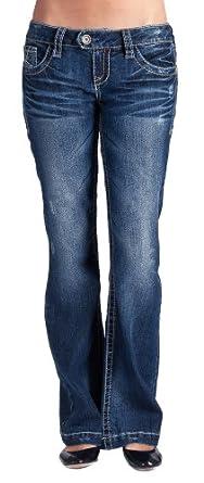 Wallflower JR   Curvy Flare Jean in Dark Sandblast Size: 0
