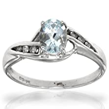 buy 10K White Gold Aquamarine Oval Gemstone And Diamond Ring, Birthstone Of March