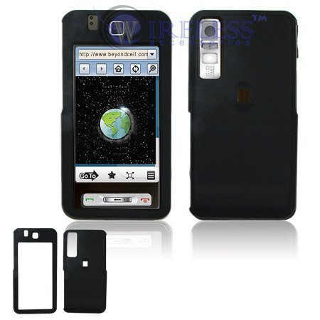 Black Rubber Feel Snap-On Cover Hard Case Cell Phone Protector for Samsung Behold T919