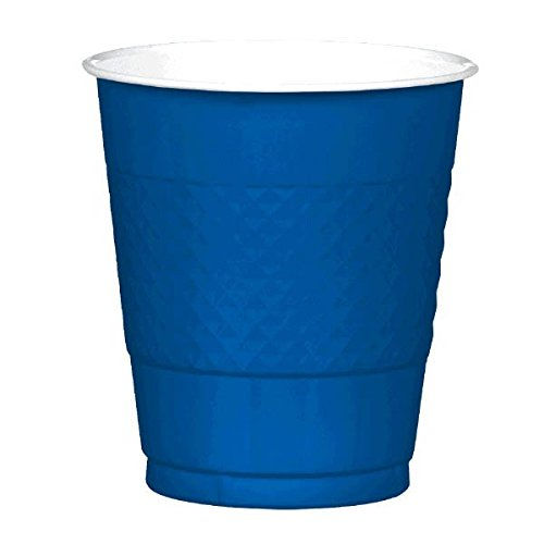 """Amscan Reusable Party Cups (20 Piece), Bright Royal Blue, 3.9 x 3.7"""""""