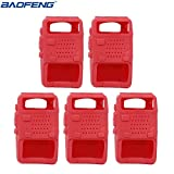 BAOFENG 5pcs Handheld Soft Rubber Case Portable Silicone Cover Shell UV-5R Series Two Way Radios Walkie Talkie (Red) (Color: Red)