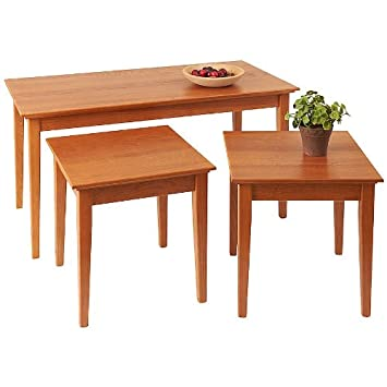 Manchester Wood Nesting Shaker Coffee Table Trio - Golden Oak