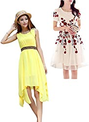 Combo Of Two Western Dress Yellow And White (PACK OF 2)