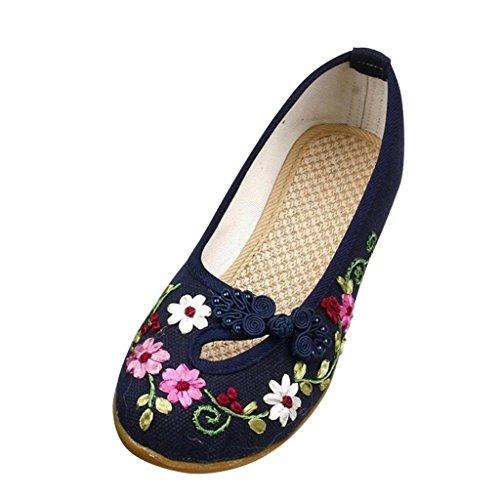 (ミネセンム)Minesam レディース 女性 フラット 北京スタイル 刺繍 換気 パンプス 履きやすい おすすめ 花柄 特別なボタンがあります ( ブルー 22.5cm )