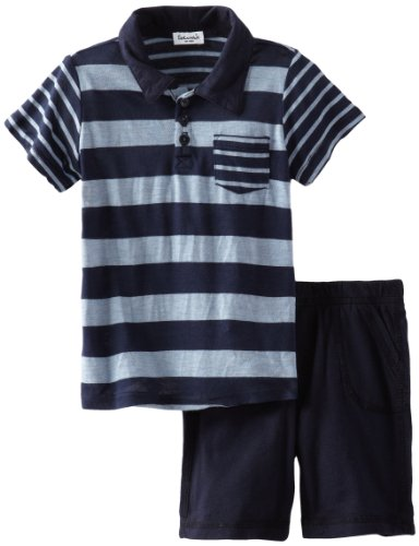 Review Splendid Littles Baby-Boys  Chambray Mix Stripe Polo Set, Navy, 12-18
