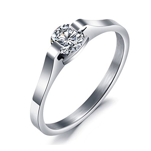 [Bishilin Stainless Steel Silver Solitaire Zirconia Women Wedding Band Promise Rings Size 9] (Arab Money Costume)