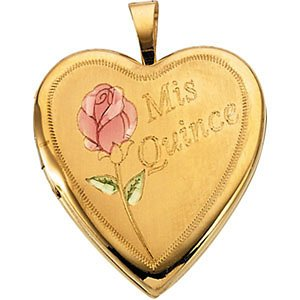 14k Yellow Gold Mis Quince Años Rose Heart Locket Necklace, 20