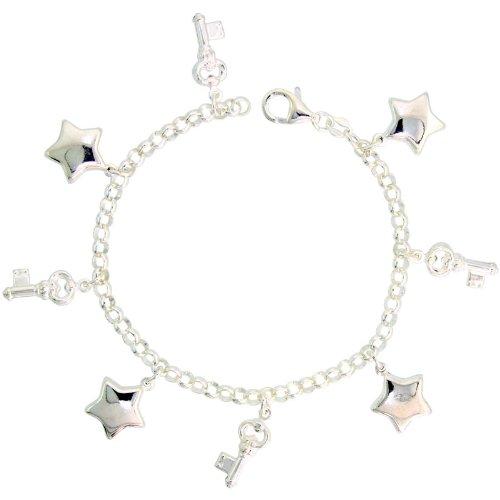 Sterling Silver Keys & Puffy Stars Pendant Bracelet, 7/8