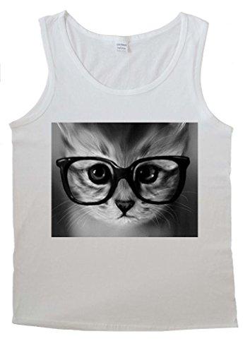 Geek Cat Swag Funny Glasses Cute Men Vest Tank Top T-Shirt -Medium