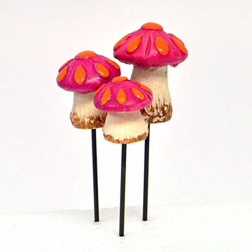 Miniature Fairy Garden Tear Drop Mushroom, Set of 3
