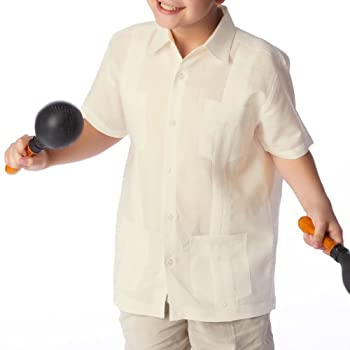 Boy's cuban guayabera short sleeve in Ivory.