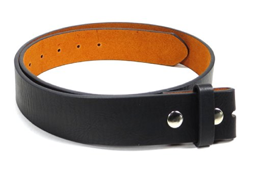 "Leather Belt Strap with Soft Distress 1.5"" Wide with Snaps (Black-M)"