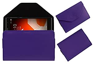 Acm Premium Flip Flap Pouch Case For Intex Aqua Fish Mobile Leather Cover Magnetic Closure Purple