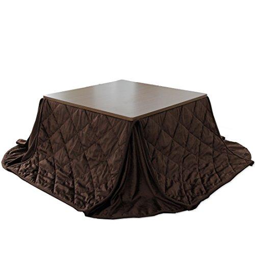 タンスのゲン 折れ脚こたつ 2点セット 70×70 洗えるフリースこたつ布団 正方形 [ 天板 ブラウン ][ 布団 無地ブラウン ] 68140011 10 -