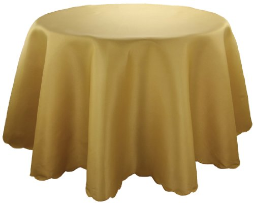 Xia Home Fashions Samantha Round Tablecloth, 72-Inch, Gold