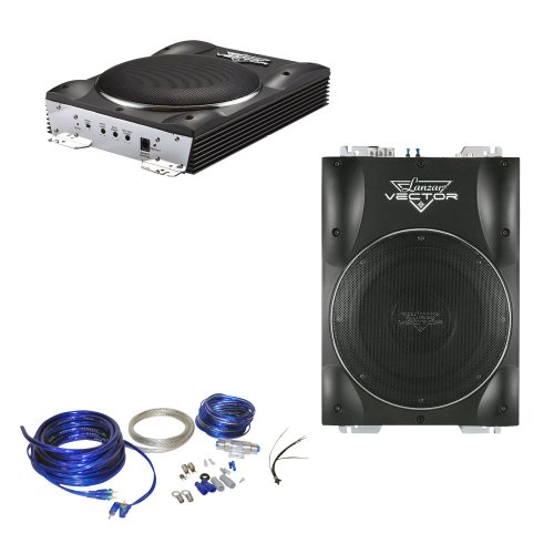 Lanzar Car Amplified Subwoofer And Installation Kit Package - Vctbs10 800 Watts Max 10'' Super Slim Active Subwoofer - Ampkit4 Contaq 1800 Watt 4 Gauge Power Amp Kit