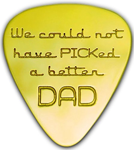 Unique & Custom [0.38mm Thin Gauge - Traditional Style Semi Tip] Hard Luxury Guitar Pick Made of Genuine Solid Brass w/ Word Play Couldn't PICK a Better Dad Design