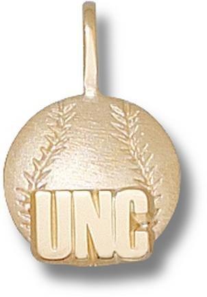 North Carolina Tar Heels UNC Baseball Pendant - 14KT Gold Jewelry by Logo Art