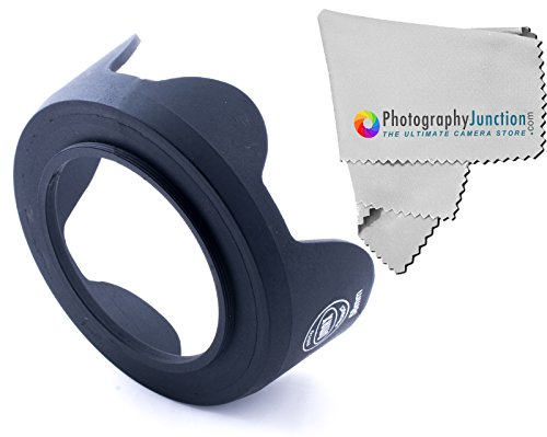 58mm Tulip Shaped Flower Lens Hood + Premium Photography Junction Microfiber Lens Cleaning Cloth for CANON EOS 1200D, CANON EOS (700D 650D 600D 550D 500D 450D 400D 350D 300D 1100D 100D 60D), Canon 18-55mm, Nikon 50mm