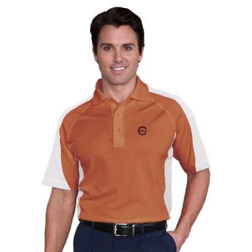 Monterey Club Mens Dry Swing Side Contrast Pique Polo Shirt #1035 (Passion Fruit/White, X-Large)