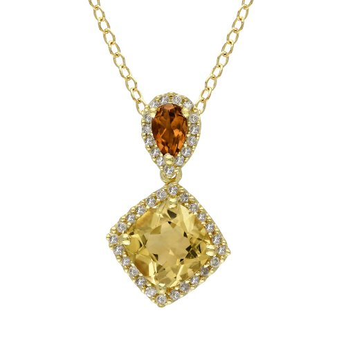 Yellow Rhodium Plated Sterling Silver Citrine and Diamond Pendant Necklace (.16 Cttw, G-H Color, I2-I3 Clarity), 18