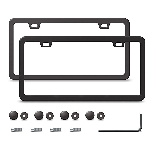 2 Stainless Steel License Plate Frame with 2 Holes, Matte Black Slim (Black Thin License Plate Frame compare prices)