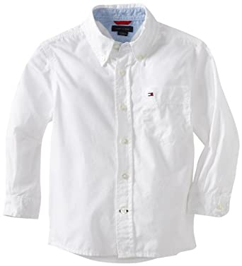 Tommy Hilfiger Big Boys' Classic Long Sleeve Woven Shirt, Classic White, Small