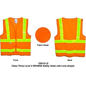 Class Two, ANSI 2004 Double Striped Sleeveless, ORANGE Safety Vests with Lime stripes XL size