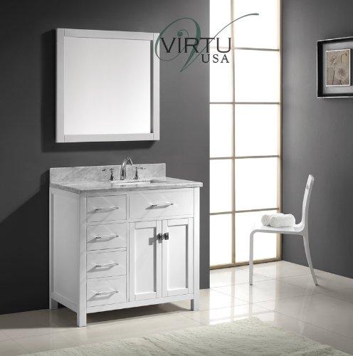 Virtu Usa Ms-2136L-Wmsq-Wh 36-Inch Caroline Parkway Single Square Sink Bathroom Vanity, White