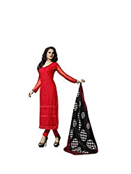 Amyra Women's Chiffon Dress Material (AC796-08, Red)
