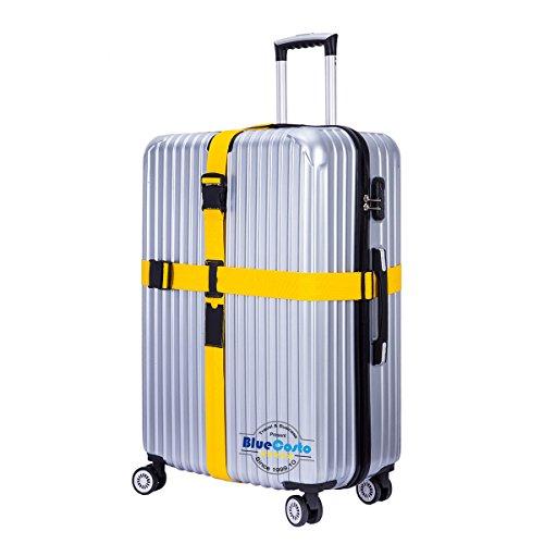 BlueCosto (Yellow) Adjustable Cross Luggage Strap Suitcase Belt