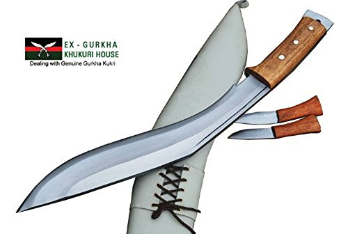"Gurkha Kukri Knife - 15"" Afghan Defender Wooden Handle Kukri - Hand Forged Full Tang Blade Handmade in Nepal"