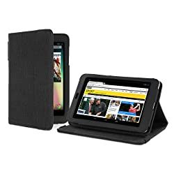Cover-Up - Funda de cáñamo natural (con funcion de ahorro de energia) para Google Nexus 7 Tablet (versión con soporte) - Negro de Carbon