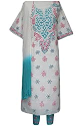 ADA Lucknow Chikankari Hand Embroidered Cream Cotton Ethnic Casual Dress Material A105465