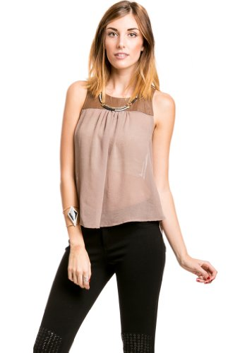 Sheer Open Back Tank in Brown