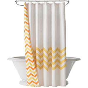 Happy Chic by Jonathan Adler Lola Chevron Reversible Shower Curtain, Yellow