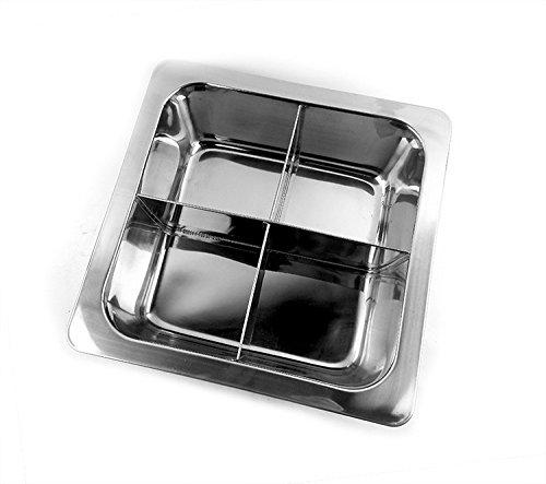 Épaisseur spécial Fondue en acier inoxydable Pots soupe pot carré en treillis de grille non magnétique Il n'est pas transparent Canard potdirect 4cellules