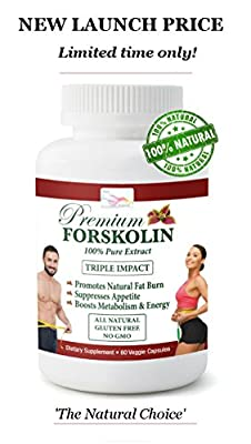 Pure Forskolin Extract - Highest Grade Natural Weight Loss Supplement for Women & Men - Fat Burner - Carb Blocker - Appetite Suppressant - Boosts Metabolism and Energy - Powerful Antioxidant - 60 Days