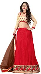 Khoobee Presents Women's Multi Embroidered Stitched Lahenga With Unstitched Blouse Piece.(Red)