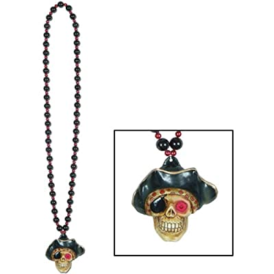 Beads w/Flashing Pirate Skull Medallion Party Accessory (1 count) (1/Card) from The Beistle Company
