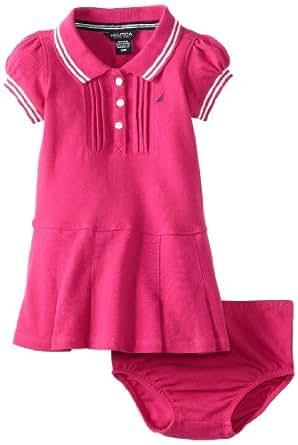 Nautica Baby Girls' Solid Pique Dress, Bright Pink, 18 Months