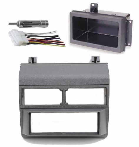 1988-1996 Gray Chevrolet & GMC Complete Single Din Dash Kit + Pocket Kit + Wire Harness + Antenna Adapter. (Chevy - Crew Cab Dually, Full Size Blazer, Full Size Pickup, Suburban, Kodiak) (GMC - Crew Cab Dually, Full Size Pickup Sierra, Suburban, Yukon) (1988, 1989, 1990, 1991, 1992, 1993, 1994, 1995, 1996)