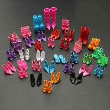 60 Pairs Trendy Multiple Styles Heels Sandals For Barbie Dolls by Completestore