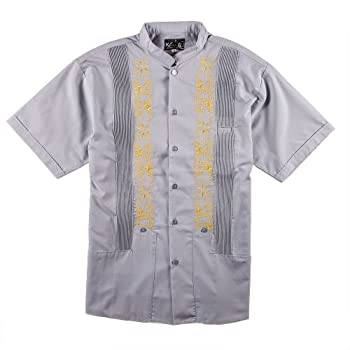 Y.A.Bera Men's Short Sleeve Mandarin Collar w/ Clouds Part Artwork - Grey