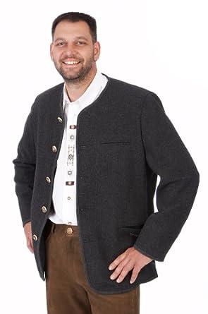 Orbis Textil Trachten Herren Janker - 230/Rundhals - anthrazit Größe 46
