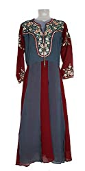 Skhoza stitched georgette embroidered long kurti for women-L