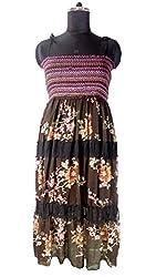 Anuze Fashions New Fashion Casual Wear Black Multi Cotton Smoking Long Dress For Women's And Girl's